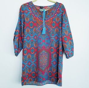 NLW Tunic Top Blue Pink Boho Neck Tie - LARGE 🔴